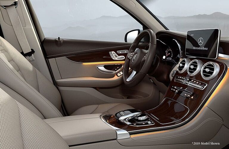 Front seat interior of the 2019 Mercedes-Benz GLC