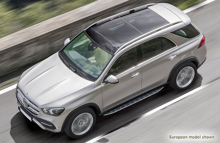 Overhead view of a silver 2020 Mercedes-Benz GLE
