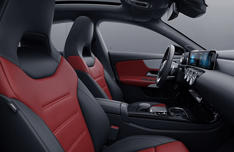2021 Mercedes-Benz CLA Coupe interior side shot of front seating upholstery and color