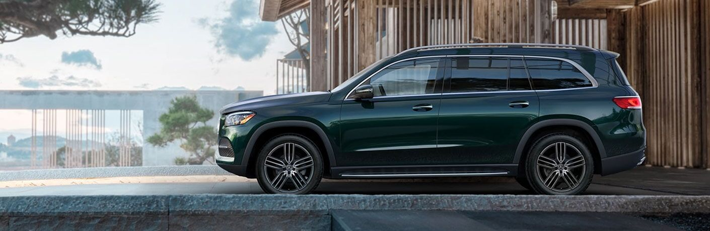 The 2021 Mercedes-Benz GLS parked outside a building