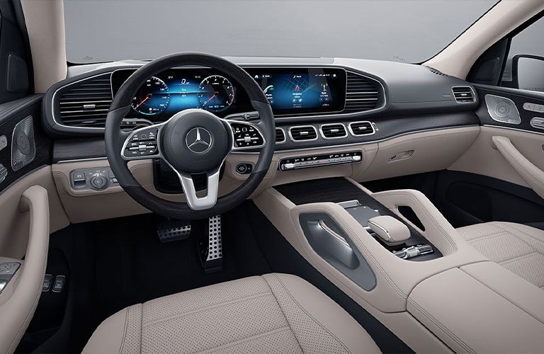 Interior front row and driver area on the 2021 Mercedes-Benz GLS