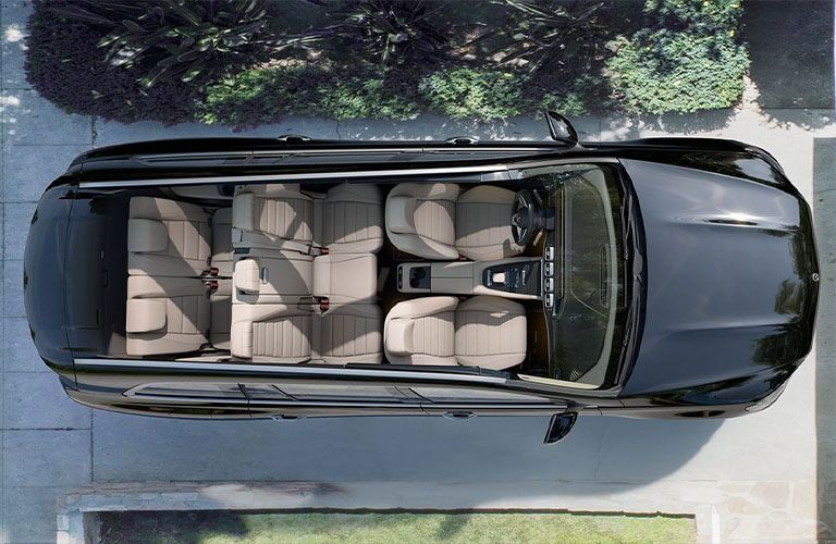 Interior overview of all three rows in the 2021 Mercedes-Benz GLS as seen from above