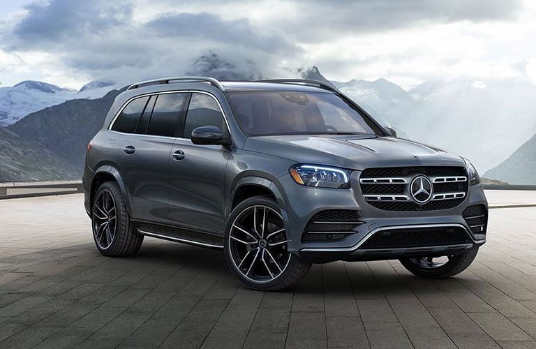 Front and side exterior view of a 2021 Mercedes-Benz GLS