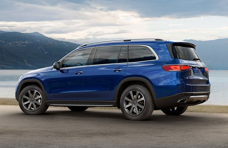 Side and rear exterior view of the 2021 Mercedes-Benz GLS