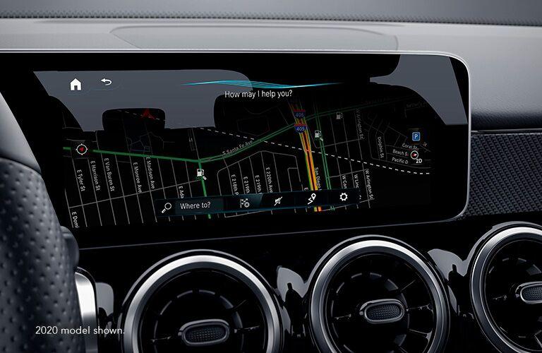 2021 MB GLB 250 interior close up on navigation and air vents (2020 models shown)
