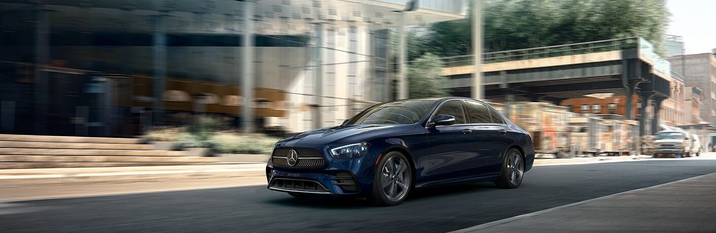 2021 Mercedes-Benz E-Class driving on a road