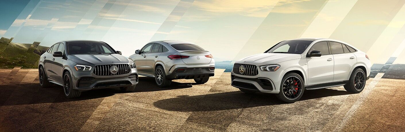 Three 2021 Mercedes-Benz GLE Coupe SUVs parked by each other