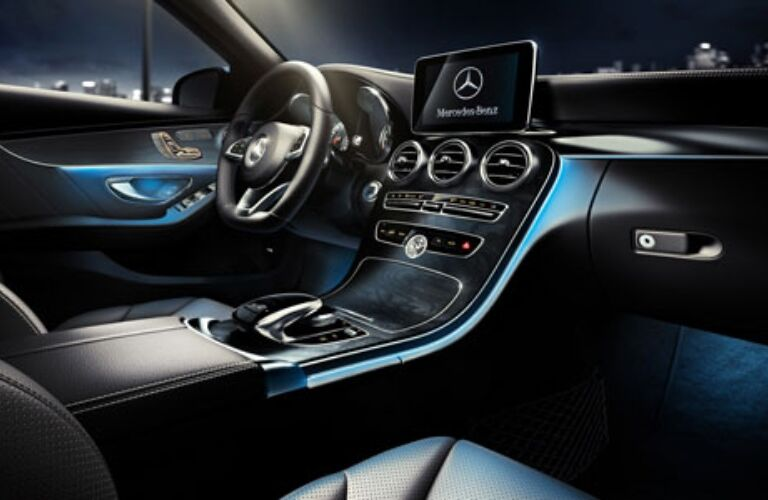 Interior front seats in the 2018 Mercedes-Benz C-Class