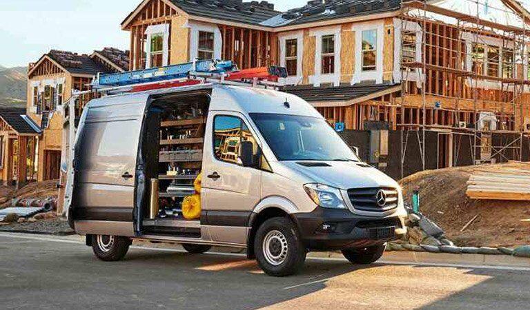 Mercedes-Benz Sprinter Cargo Van with side door open