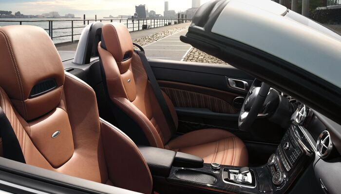 The luxurious interior of the 2019 Mercedes-Benz SLC 300 roadster