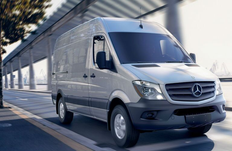 Exterior View of the Mercedes-Benz Cargo Sprinter Van Front End View in White