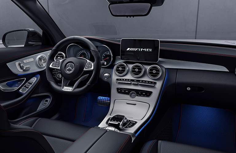Interior of the 2018 Mercedes-Benz AMG C 43 with focus of the display and center console