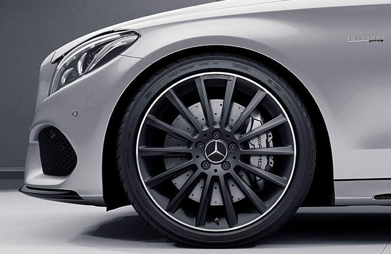 Front Tire and wheel well of the 2018 Mercedes-Benz AMG C 43
