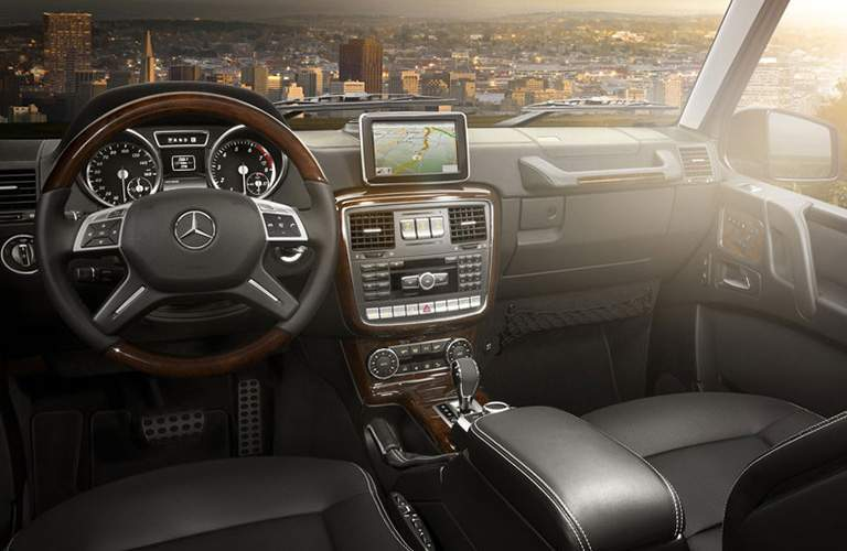 Interior of the 2018 Mercedes-Benz G-Class over looking a cityscape
