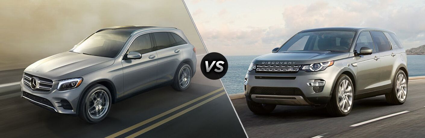 2018 Mercedes-Benz GLC 300 driving on a foggy highway vs 2018 Land Rover Discovery Sport driving on a foggy highway near a body of water