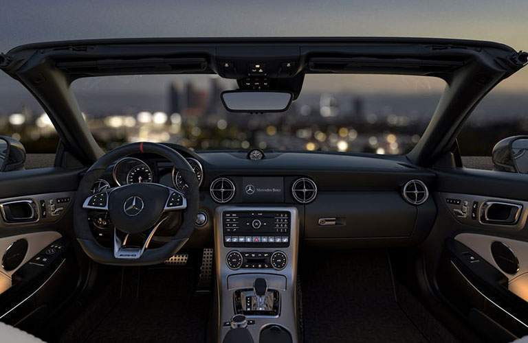 Interior of the 2018 Mercedes-Benz SLC 300 with the top down