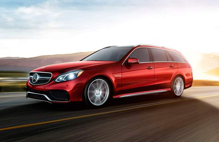 2018 Mercedes-Benz E-Class Wagon red driving down open highway