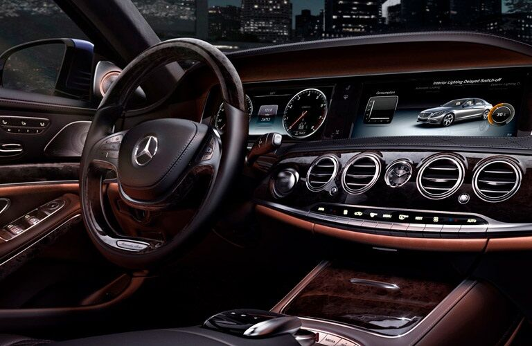 steering wheel and infotainment system of the 2017 Mercedes-Benz S-Class