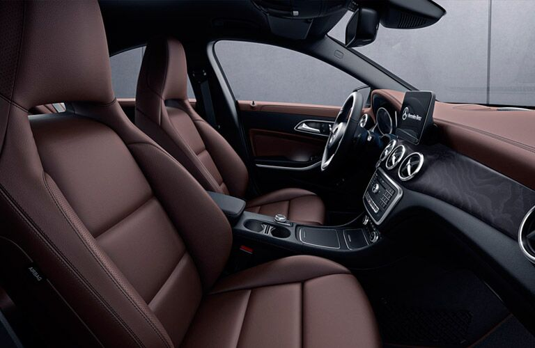 Interior front seats of the 2017 Mercedes-Benz CLA