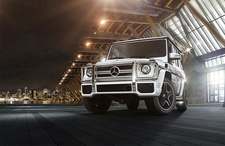 white 2017 Mercedes-Benz G-Class parked outside building