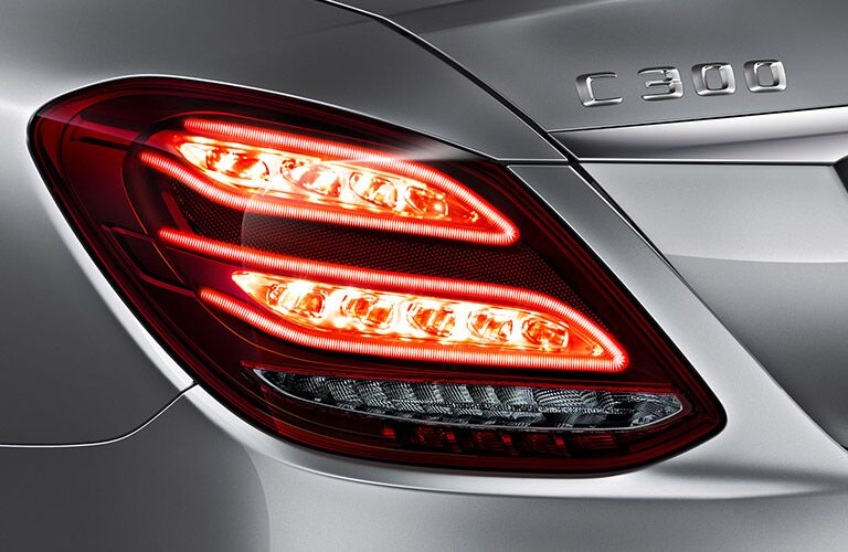 closeup view of red taillights on the C-Class