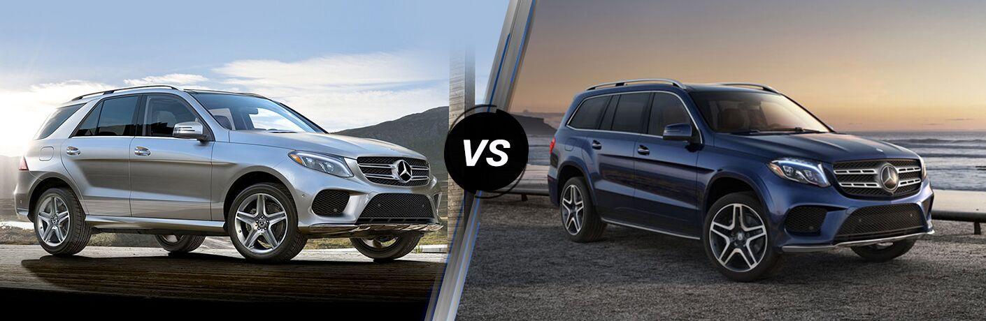 silver Mercedes-Benz GLE vs blue Mercedes-Benz GLS