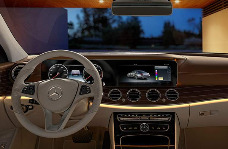 Steering wheel and infotainment system in 2018 Mercedes-Benz E-Class