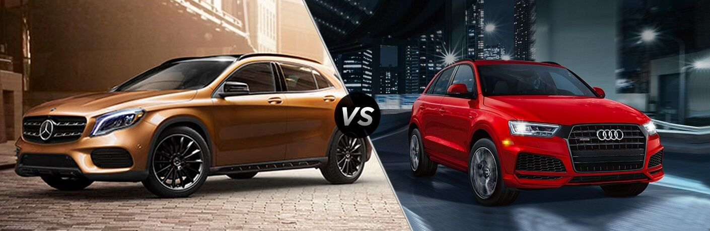 Bronze 2018 Mercedes-Benz GLA and red 2018 Audi Q3 side by side