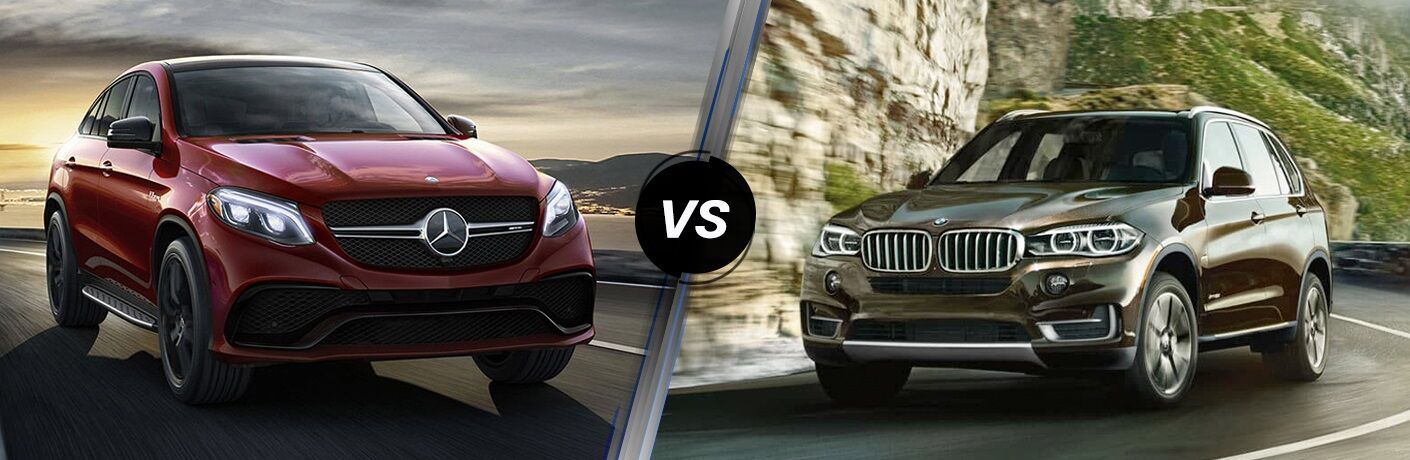 Red 2018 Mercedes-Benz GLE and black 2018 BMW X5 side by side