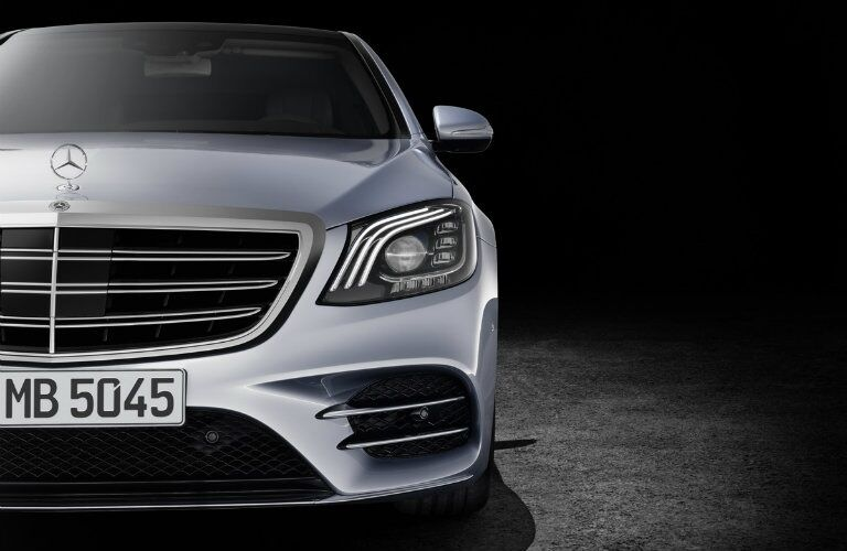 Front view of a silver 2018 Mercedes-Benz S-Class