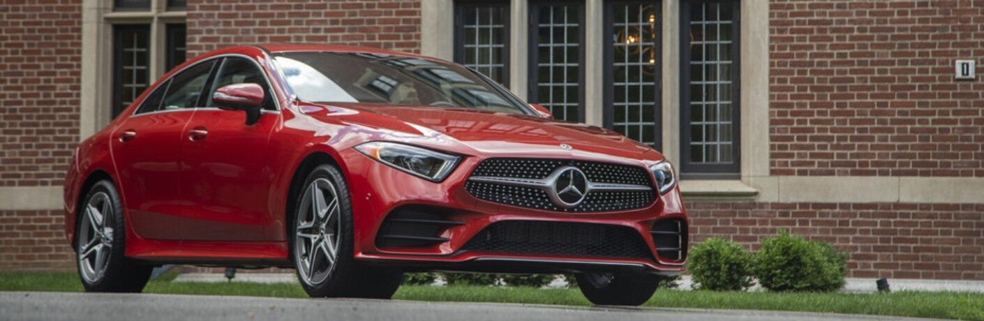 Front view of a red 2019 Mercedes-Benz CLS
