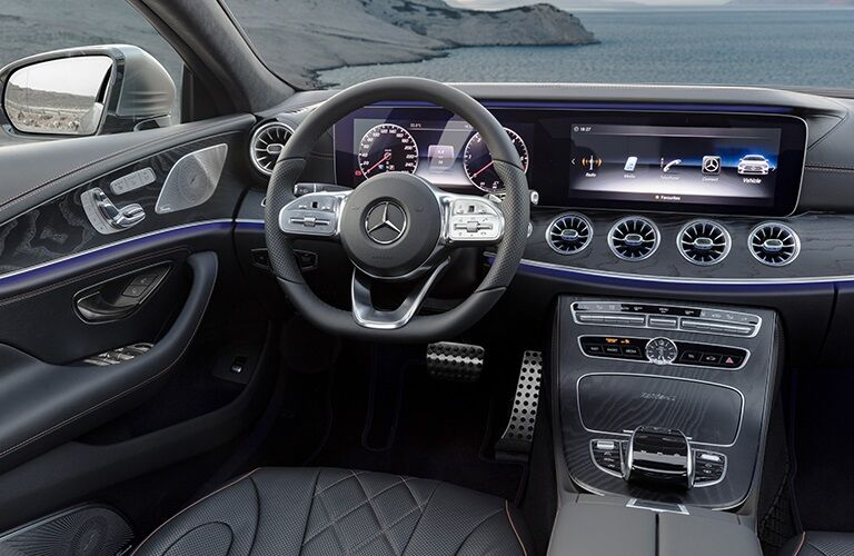 Steering wheel and dashboard of the 2019 Mercedes-Benz CLS