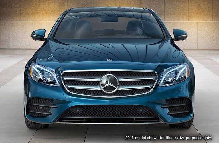 front view of a blue 2018 Mercedes-Benz E-Class