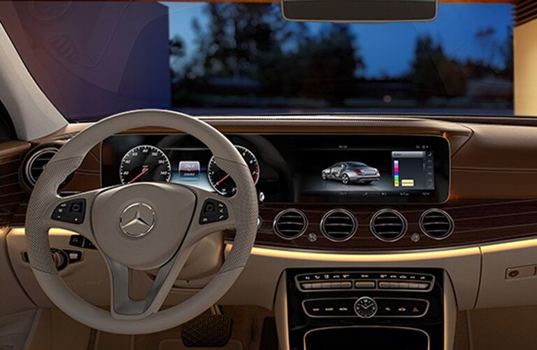 Cockpit view in a 2018 Mercedes-Benz E-Class