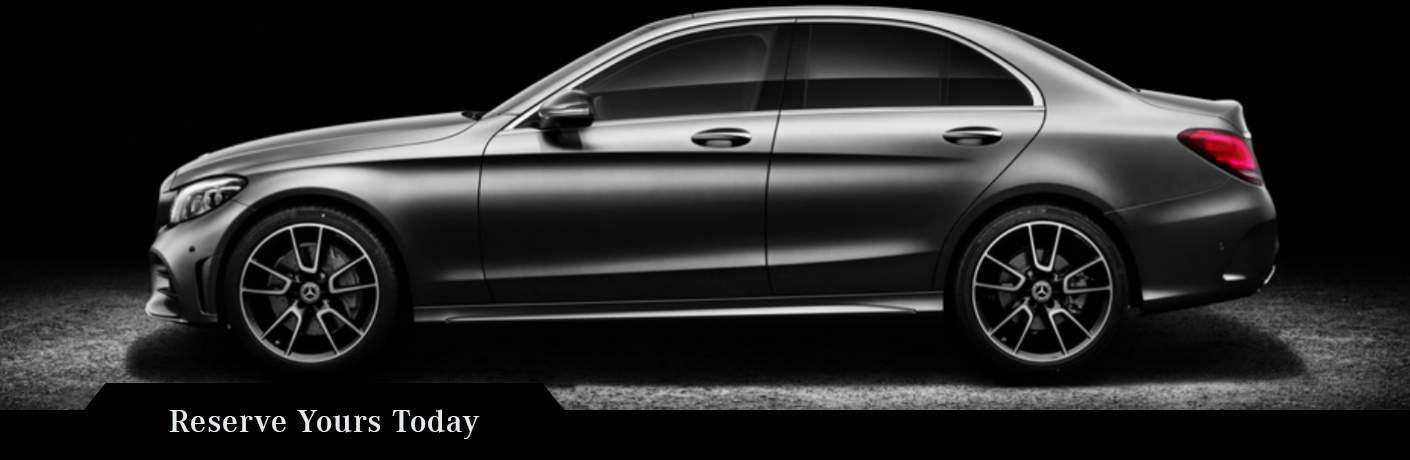 side view of a silver 2019 Mercedes-Benz C-Class