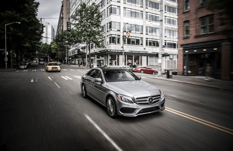 2015 Mercedes-Benz C-Class driving in city