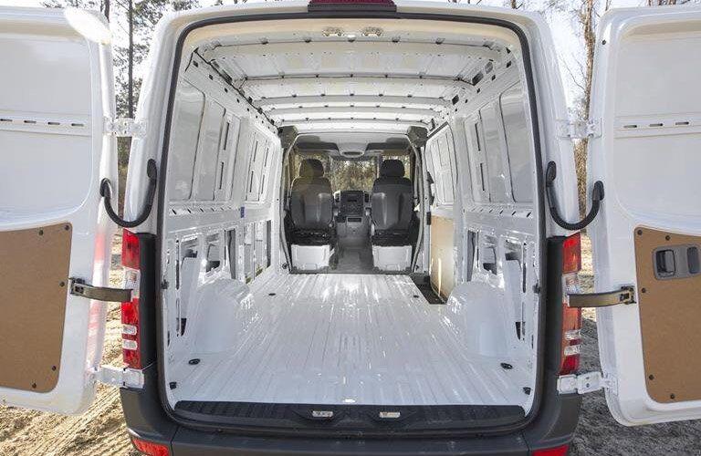 2018 Mercedes-Benz Sprinter van interior full view of open cargo space with rear doors propped open