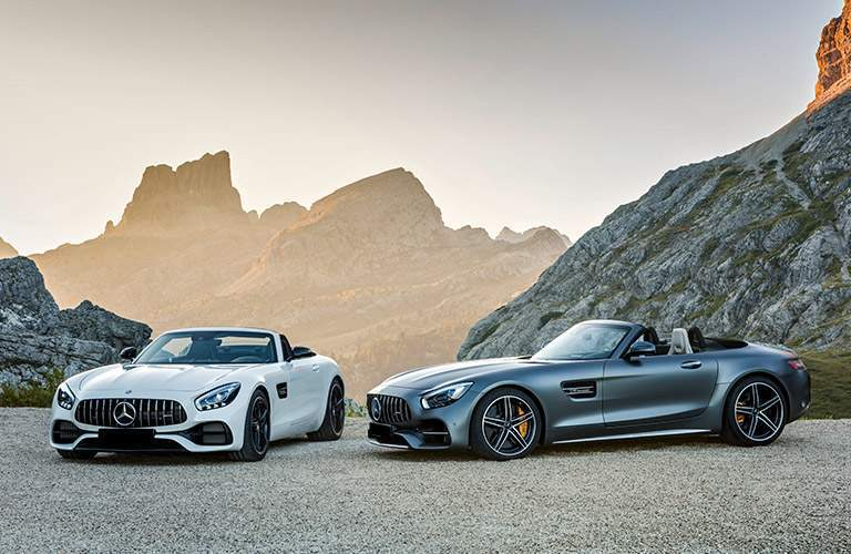 2018 Mercedes-AMG GT C trim models parked out in the mountain wilderness