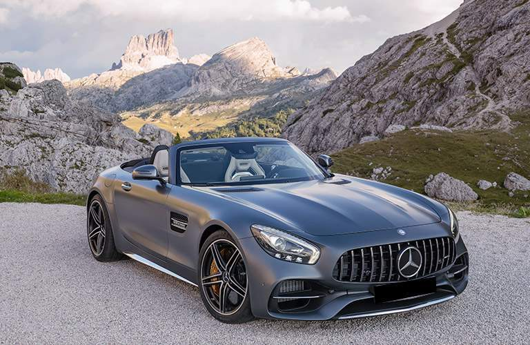 2018 Mercedes-AMG GT C trim in an empty mountain wilderness