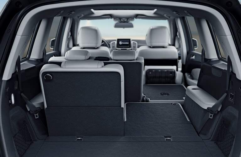 2018 mercedes-benz gls class interior shown from third-row with folding seats down for versatility