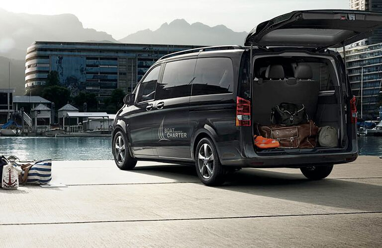 2018 Mercedes-Benz Metris Worker Passenger Van Outside with Trunk open by dock with boat charter