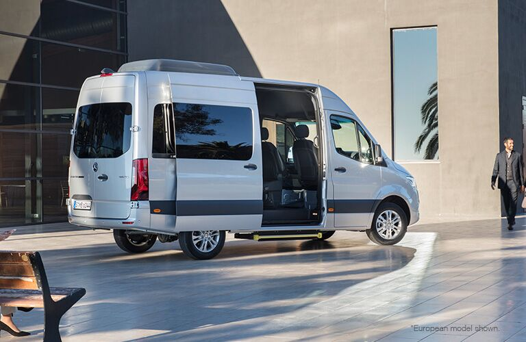 2018 Mercedes-Benz Sprinter van exterior shot parked outside a hotel with door slid open as passengers approach