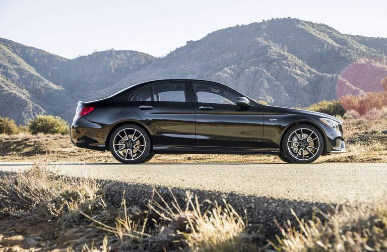 profile view of mercedes benz 2018 amg c class model long island city ny