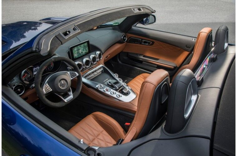 2018 Mercedes-AMG GT interior overhead shot of front seating and dashboard