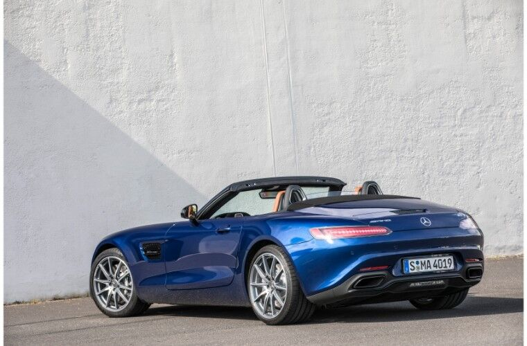 2018 Mercedes-AMG Gt exterior shot of blue paint rear bumper and trunk