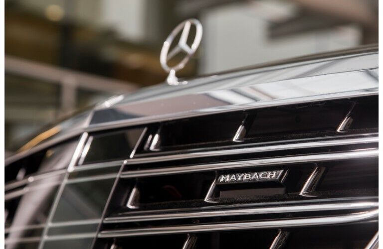 2018 Mercedes-Maybach luxury sedan closeup of front grille
