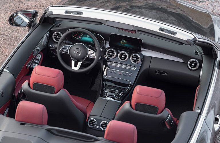 2019 Mercedes-Benz C-Class cabriolet exterior overhead shot with roof down to see interior seating and cabin space