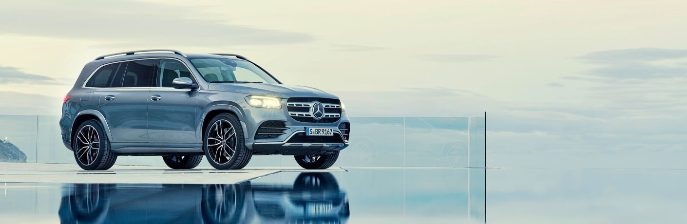 2020 Mercedes-Benz GLS parked next to pool