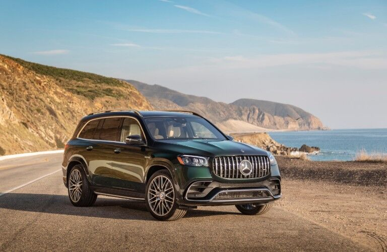 2021 Mercedes-AMG GLS 63 parked on scenic overlook