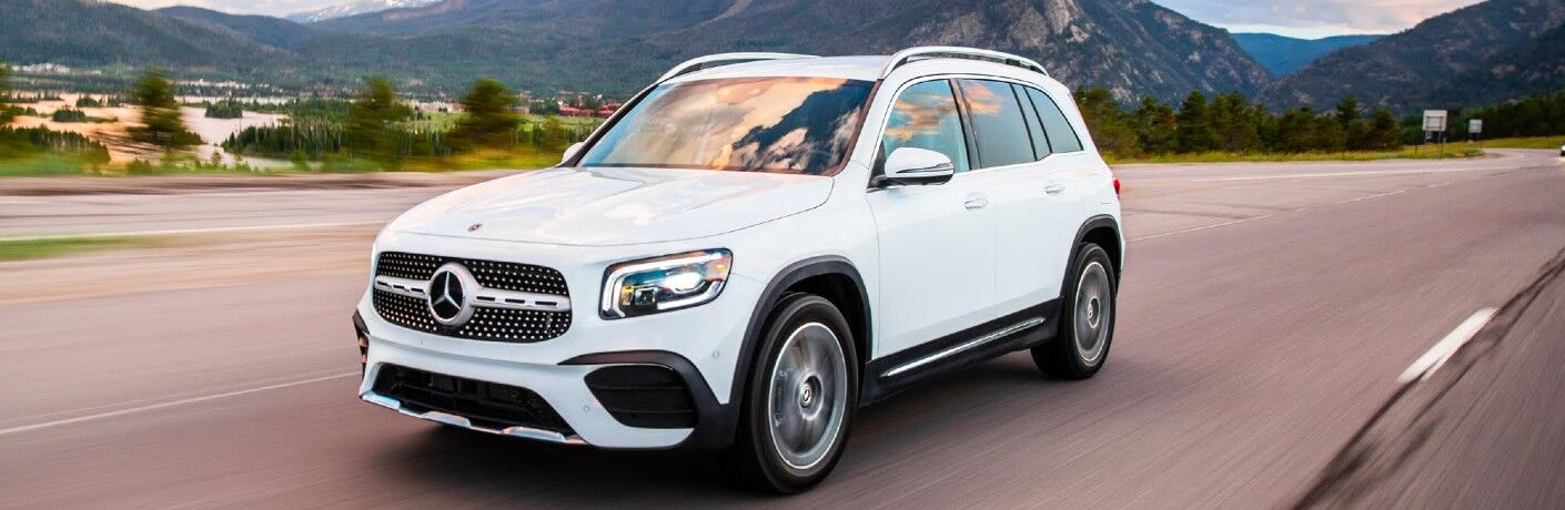 2021 Mercedes-Benz GLB driving on highway with mountain in background